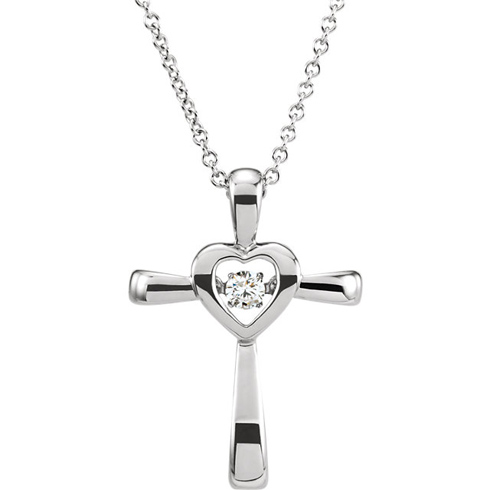 14kt White Gold .07 ct Diamond Heart Cross Mystara 18in Necklace