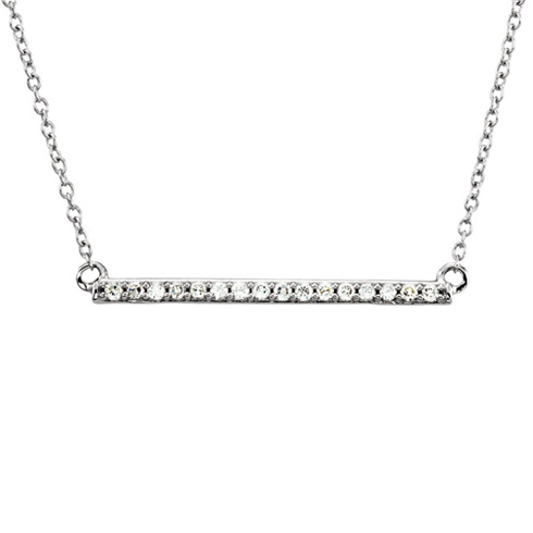 14kt White Gold 1/6 ct Diamond Bar 18in Necklace