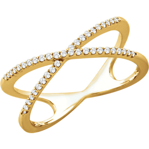14kt Yellow Gold 1/6 ct Diamond Cross Over Ring