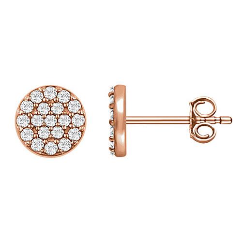 14kt Rose Gold 1/3 ct Diamond Cluster Earrings