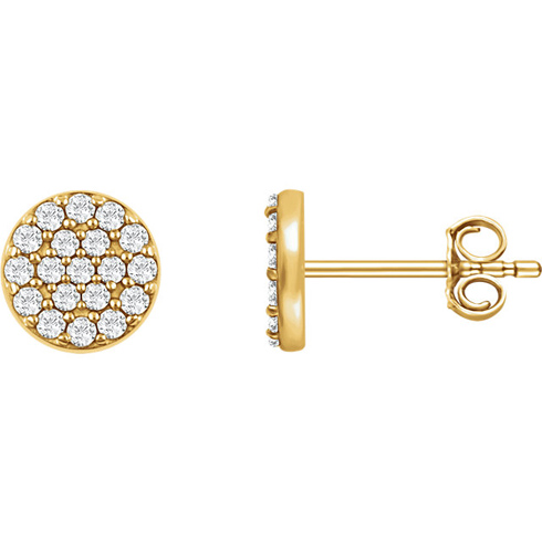 14kt Yellow Gold 1/3 ct Diamond Cluster Earrings