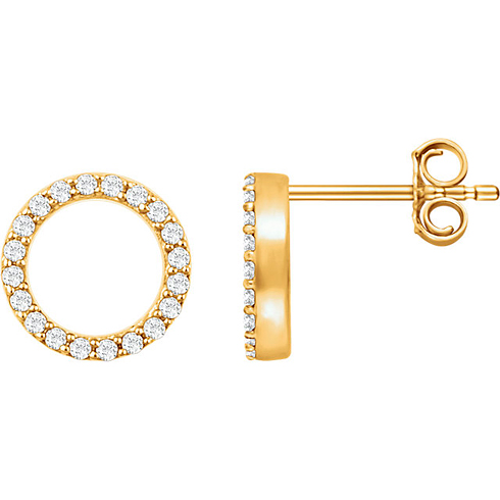 14kt Yellow Gold 1/5 ct Diamond Circle Earrings