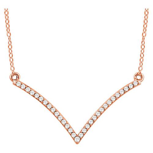 14kt Rose Gold 1/6 ct Diamond V 18in Necklace