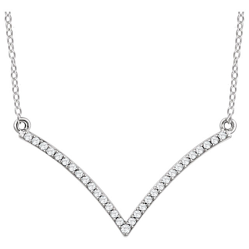 14kt White Gold 1/6 ct Diamond V 18in Necklace