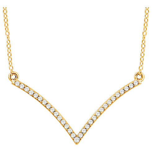 14kt Yellow Gold 1/6 ct Diamond V 18in Necklace