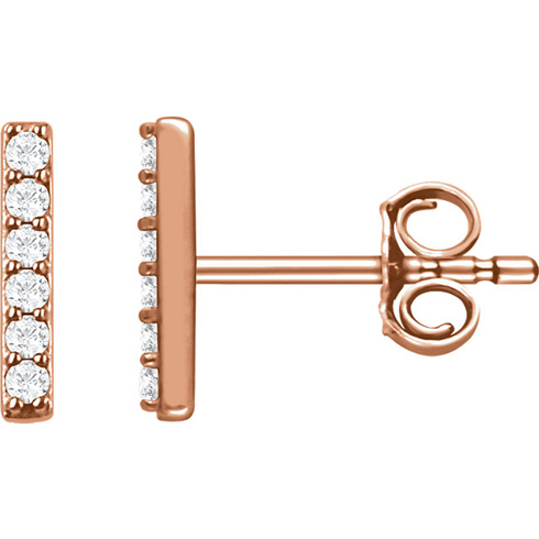 14kt Rose Gold 1/10 ct Diamond Bar Earrings
