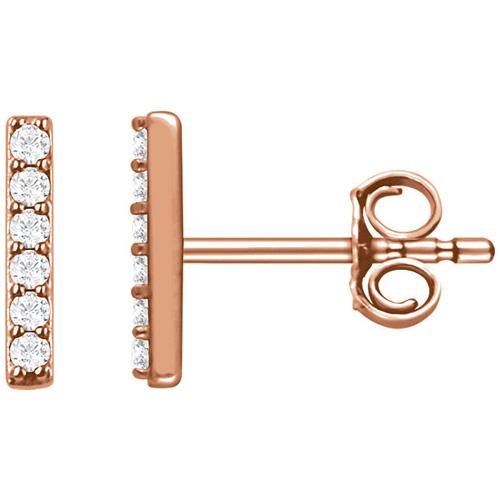 14kt Rose Gold 1/10 ct Diamond Bar Earrings