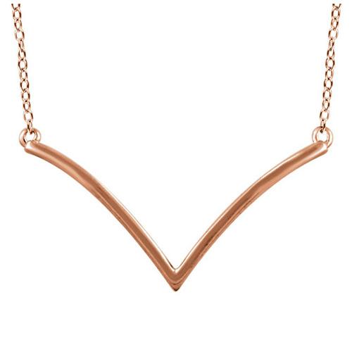 14kt Rose Gold V 18in Necklace
