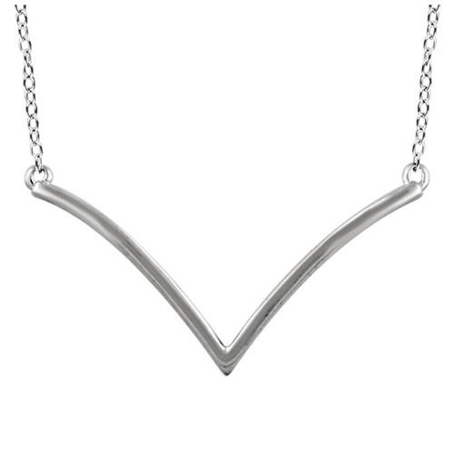 14kt White Gold V 18in Necklace