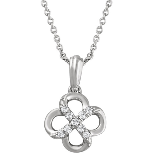 Sterling Silver .08 ct tw Diamond Infinity Design 18in Necklace
