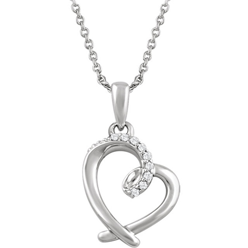 Sterling Silver .05 ct tw Diamond Heart 18in Necklace