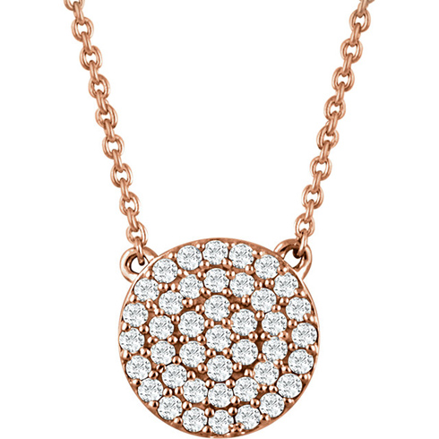 14kt Rose Gold 1/3 ct Diamond Round Cluster 18in Necklace