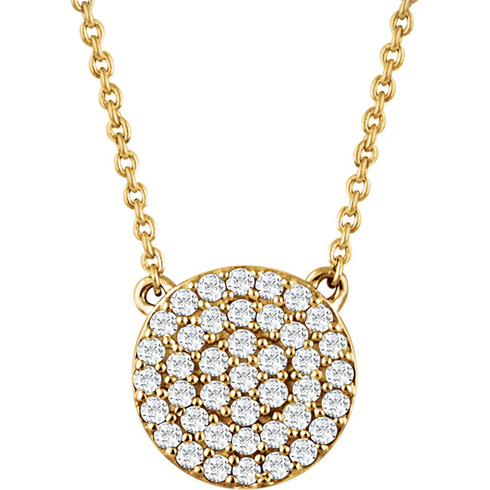 14kt Yellow Gold 1/3 ct Diamond Round Cluster 18in Necklace