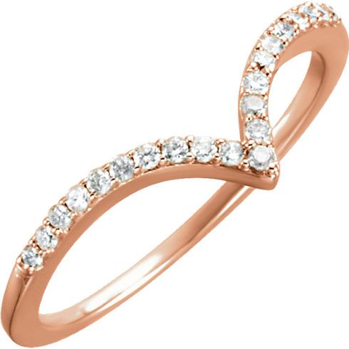 14kt Rose Gold 1/6 ct Diamond V Ring