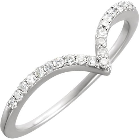 14kt White Gold 1/6 ct Diamond V Ring
