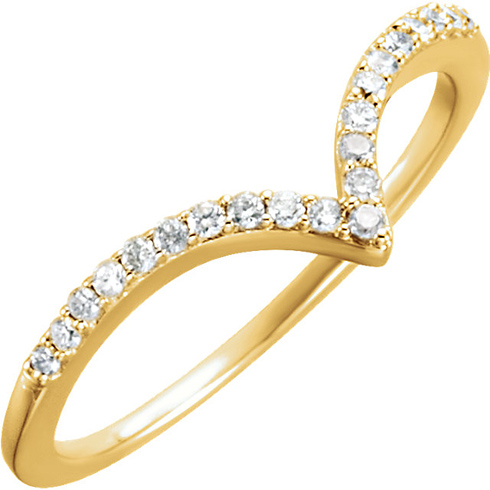 14kt Yellow Gold 1/6 ct Diamond V Ring