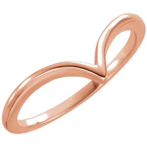 14kt Rose Gold V Ring