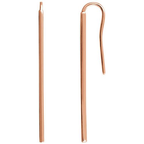 14kt Rose Gold Vertical Bar Earrings