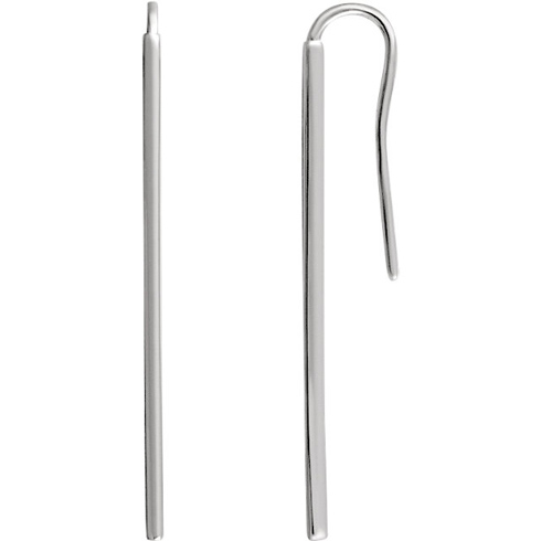 14kt White Gold Vertical Bar Earrings