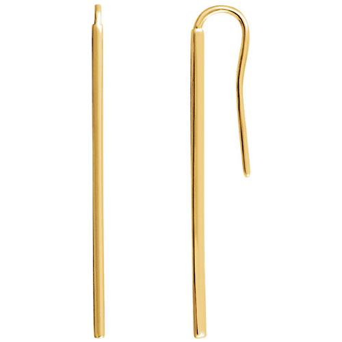 14kt Yellow Gold Vertical Bar Earrings