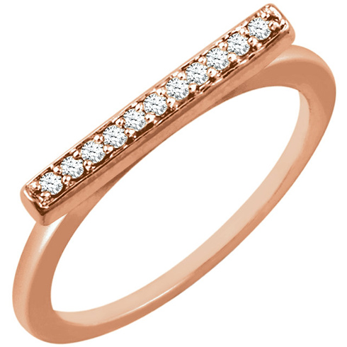 14kt Rose Gold 1/10 ct Diamond Bar Ring