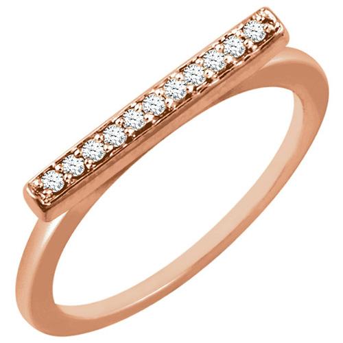 14kt Rose Gold 1/10 ct Diamond Bar Ring
