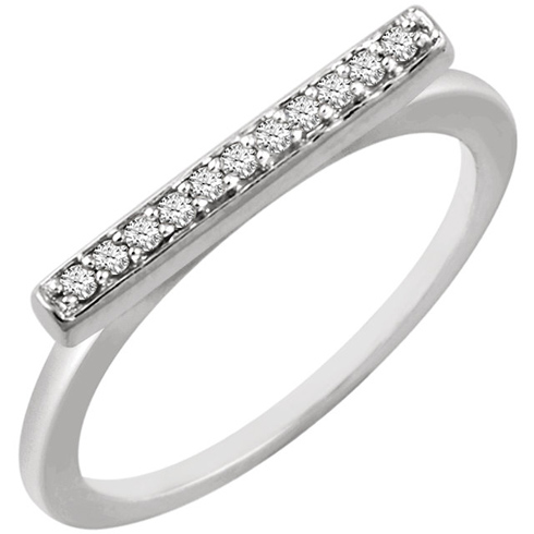 14kt White Gold 1/10 ct Diamond Bar Ring