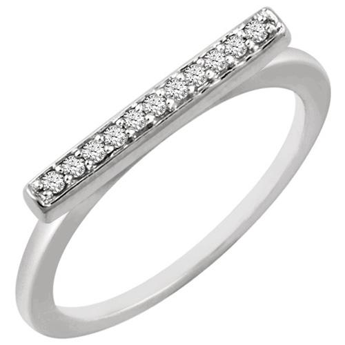 14kt White Gold 1/10 ct Diamond Bar Ring