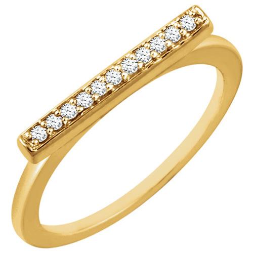 14kt Yellow Gold 1/10 ct Diamond Bar Ring