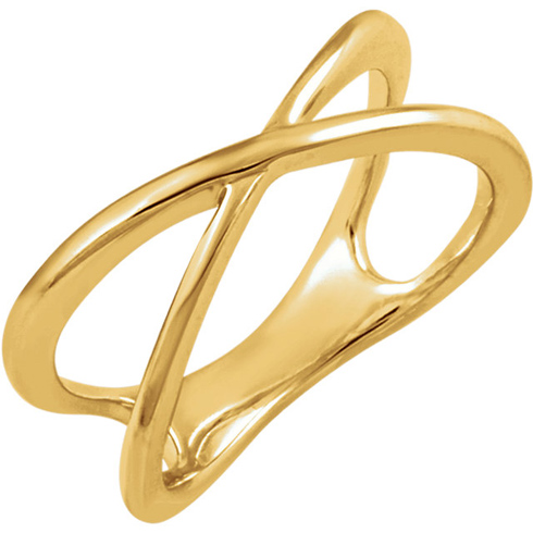 14kt Yellow Gold Cross Over Ring