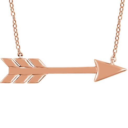 14kt Rose Gold Arrow 18in Necklace