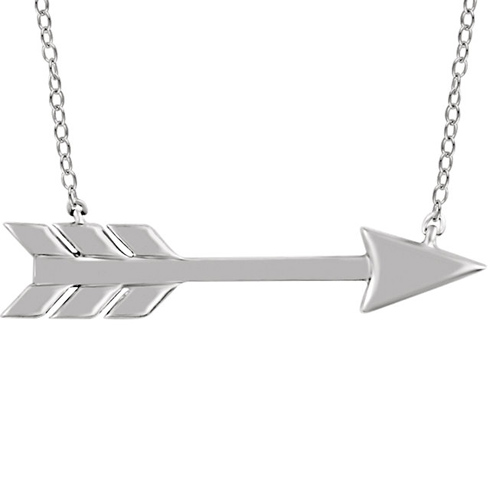 14kt White Gold Arrow 18in Necklace