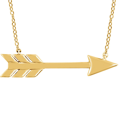 14kt Yellow Gold Arrow 18in Necklace