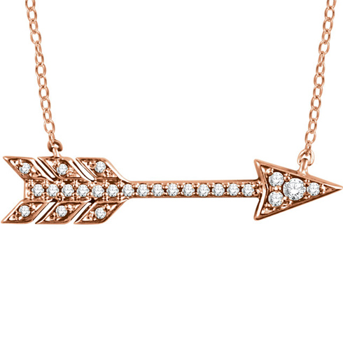 14kt Rose Gold 1/10 ct Diamond Arrow 18in Necklace