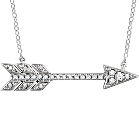14kt White Gold 1/10 ct Diamond Arrow 18in Necklace