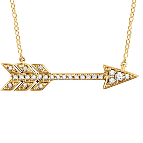 14kt Yellow Gold 1/10 ct Diamond Arrow 18in Necklace