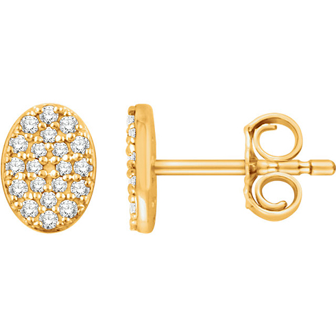 14kt Yellow Gold 1/6 ct Diamond Oval Cluster Earrings