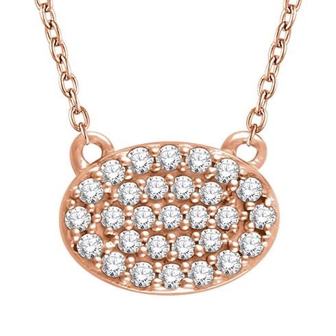 14kt Rose Gold 1/5 ct Diamond Oval Cluster 18in Necklace