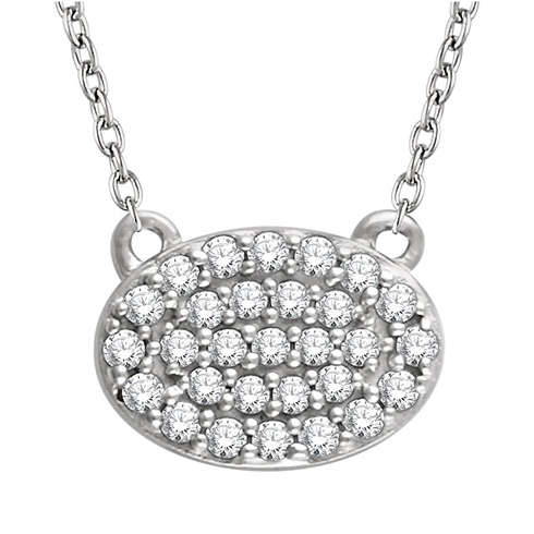 14kt White Gold 1/5 ct Diamond Oval Cluster 18in Necklace