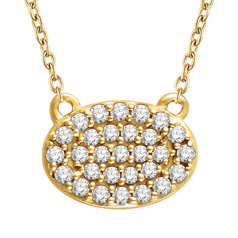 14kt Yellow Gold 1/5 ct Diamond Oval Cluster 18in Necklace