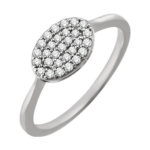 14kt White Gold 1/5 ct Diamond Oval Cluster Ring