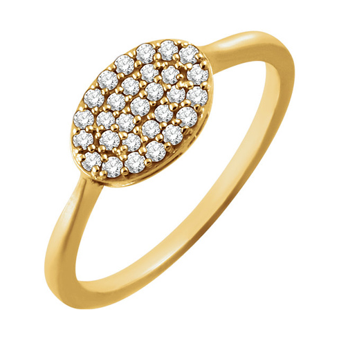 14kt Yellow Gold 1/5 ct Diamond Oval Cluster Ring