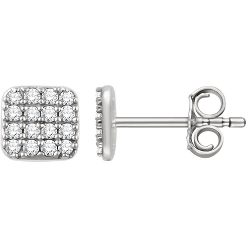 14kt White Gold 1/5 ct Diamond Square Cluster Earrings