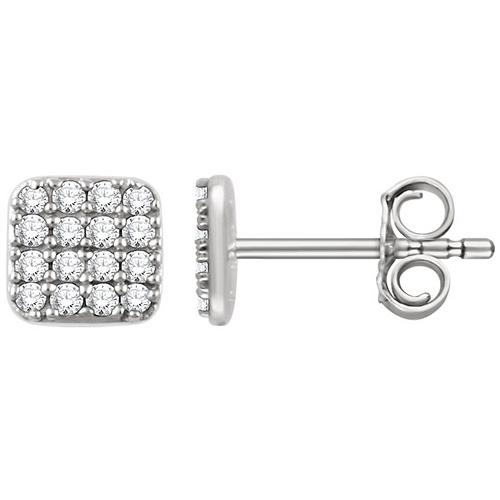 14kt White Gold 1/5 ct Diamond Square Cluster Earrings