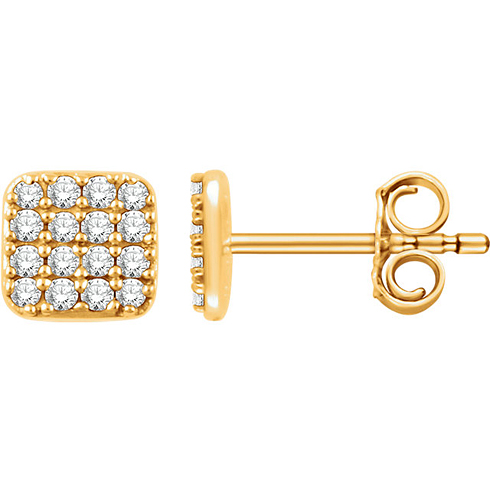 14kt Yellow Gold 1/5 ct Diamond Square Cluster Earrings