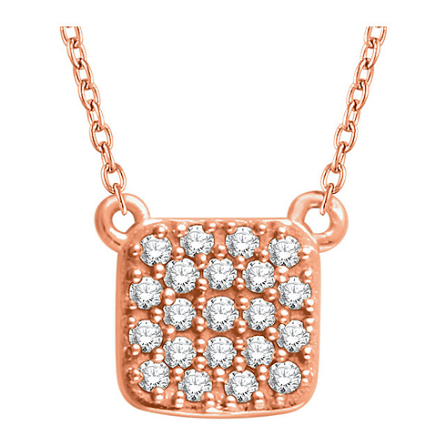 14kt Rose Gold 1/6 ct Diamond Square Cluster 18in Necklace