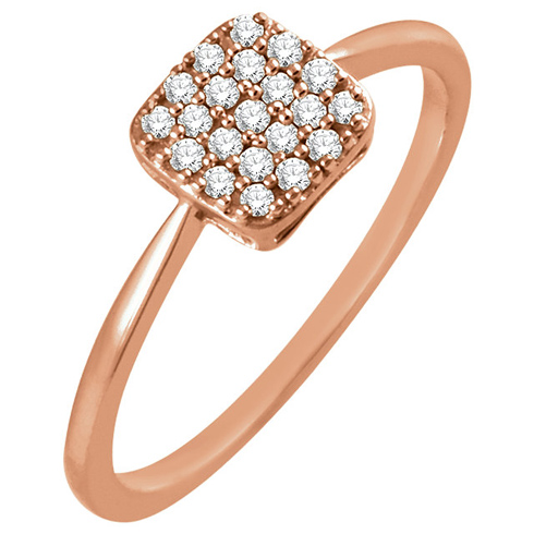 14kt Rose Gold 1/6 ct Diamond Square Cluster Ring