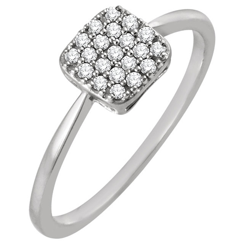 14kt White Gold 1/6 ct Diamond Square Cluster Ring