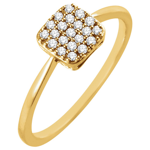 14kt Yellow Gold 1/6 ct Diamond Square Cluster Ring