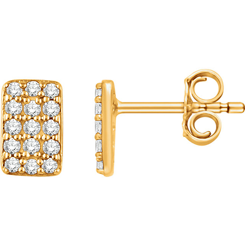 14kt Yellow Gold 1/5 ct Diamond Rectangle Cluster Earrings